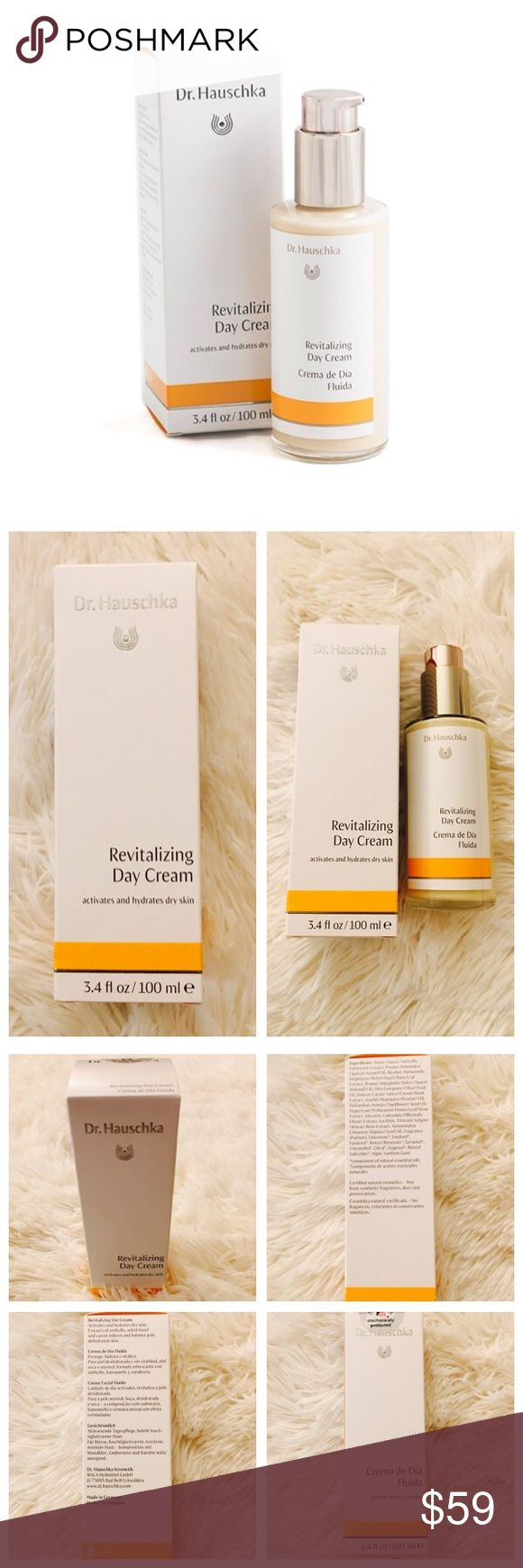 Dr. Hauschka Revitalizing Day Cream Brand new! Never opened! Activates and balances. For dry and normal skin. Light activating moisturizer regulates and balances the moisture content of skin. Enlivens pale skin and absorbs quickly. Skin feels energized and healthy! Dr. Hauschka Makeup
