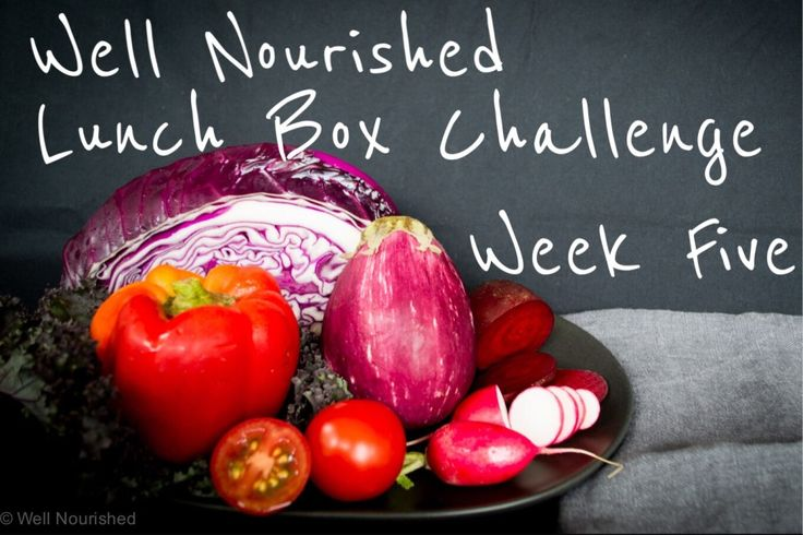 Well Nourished Lunch Box Challenge - Week Five. This week we focus on red, blue and purple vegetables. Lots of ideas, tips and recipes for including them.