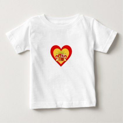 Spain/Spanish flag-inspired Heart Baby T-Shirt - toddler youngster infant child kid gift idea design diy