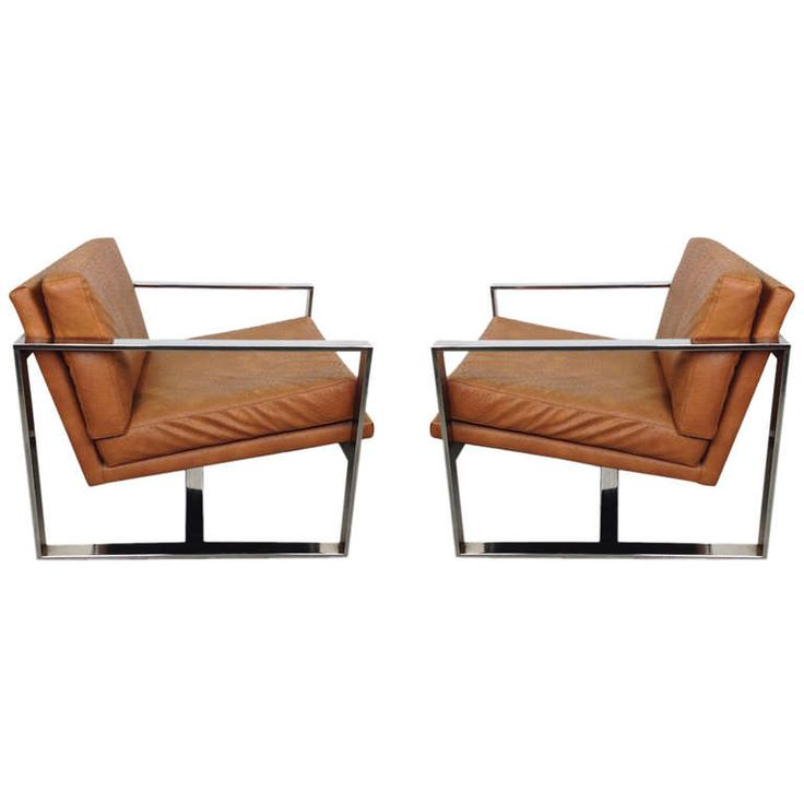Pair Of Milo Baughman Flat Bar Chrome Lounge Chairs With