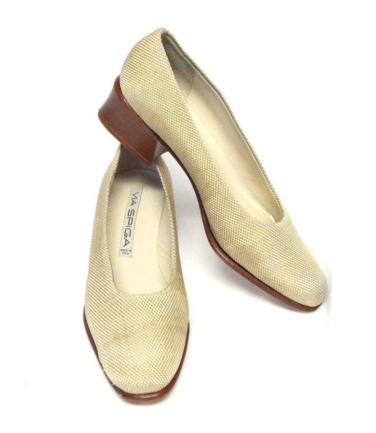 Via Spiga Fabric Heel Pumps 7 AA Khaki Classic Comfy Work Leather Soles Italy #ViaSpiga #PumpsClassics #WeartoWork