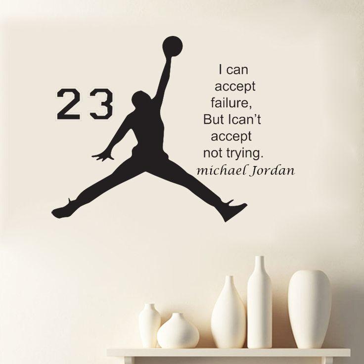 Michael jordan typographic famous quote sticker air jordan silhouette basketball decal kids rooms pinterest michael jordan door furniture and air
