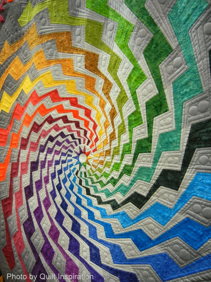 "Detail of the amazing ""Byrne's Spiral"" quilt by Beth Nufer, quilted by Clem Buzick. Byrne's Spiral won a blue ribbon in the Innovative Large Mixed category at the Road to California quilt show. (Photo from Quilt Inspiration.)"