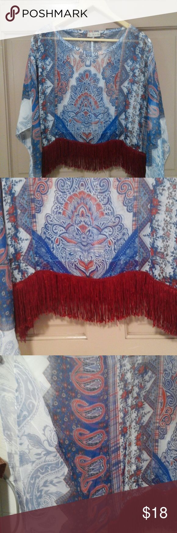 Live and let live size L crop tunic Red ,blue and white with silky fringe ,sheer crop batwing tunic ,100%polyester live and let live  Tops Tunics