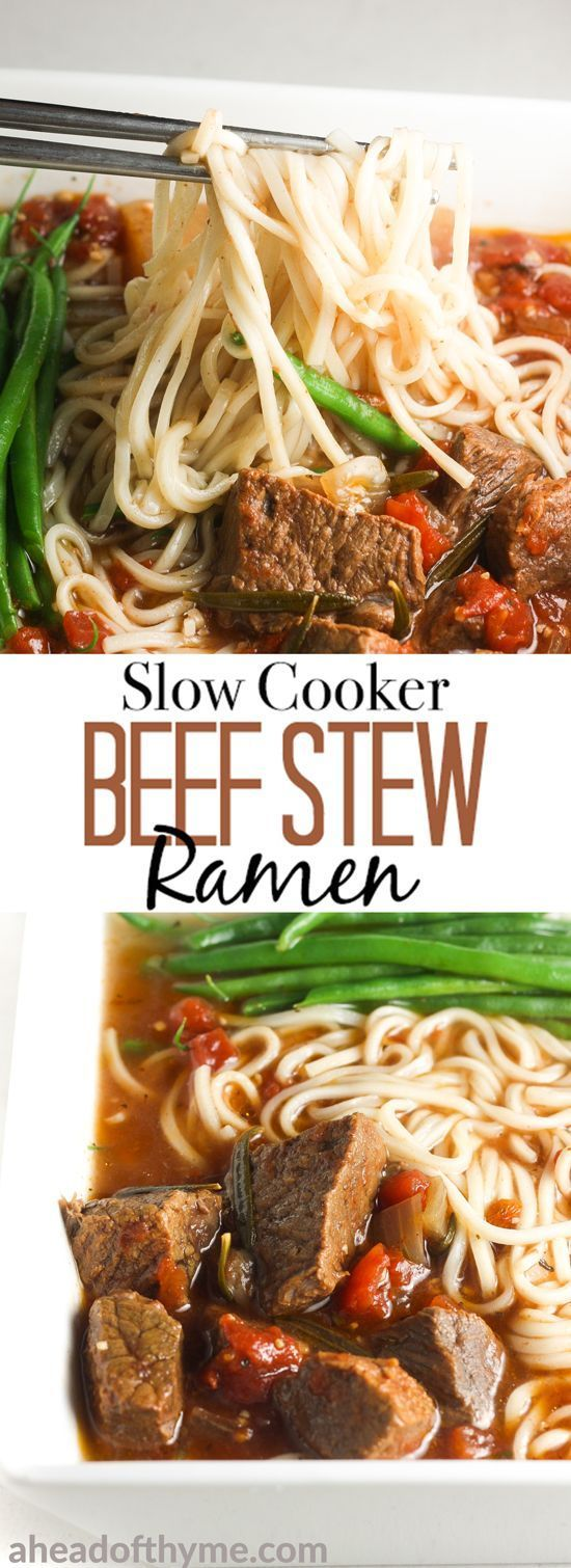 It's soup and slow cooker season! Add some noodles to your beef stew and transform it into the most amazing, flavourful slow cooker beef stew ramen. | aheadofthyme.com #ramen #beef #slowcooker #crockpot #stew #comfortfood #noodles via @aheadofthyme