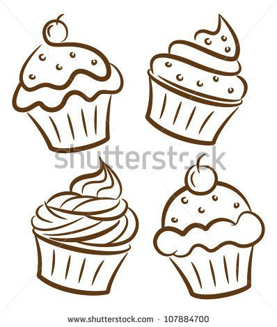 cupcake drawing free vector download 88073 files for commercial use format ai - Free Drawing Pictures