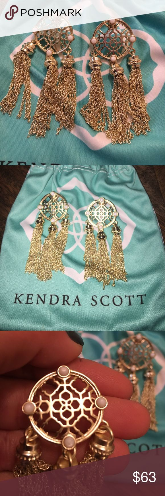 Kendra Scotts Adams earring Kendra scott gold earring. Round filigree at the top with 4 baby size mother of pearl stones with 3 drops of fringe hanging down. Worn a few times and in perfect condition- comes with dust bag! Kendra Scott Jewelry Earrings