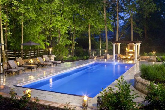 Rectangular Pool Landscape Designs rectangular inground pools with pool house | rectangle inground