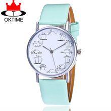 OKTIME Marca de Moda Meninas Encantadoras Do Gato Assistir Mulheres Casuais Relógio de Pulso Pulseira de Couro Relógios de Quartzo Relogio feminino KT07(China (Mainland))