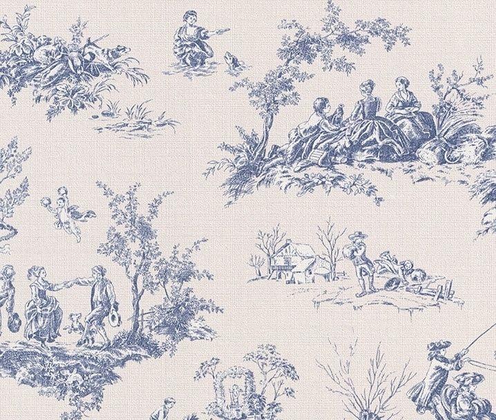 Creme, Blauw Natuur Behang 451801