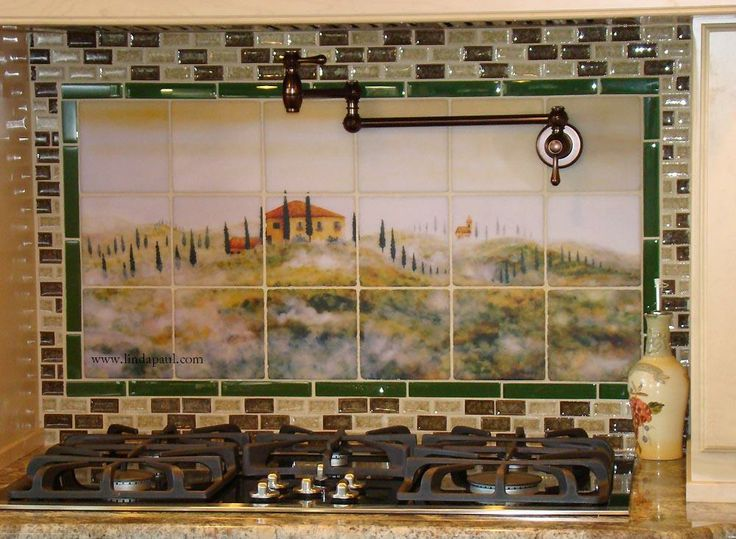 Tile Backsplash |  in the Mist with nifty green border