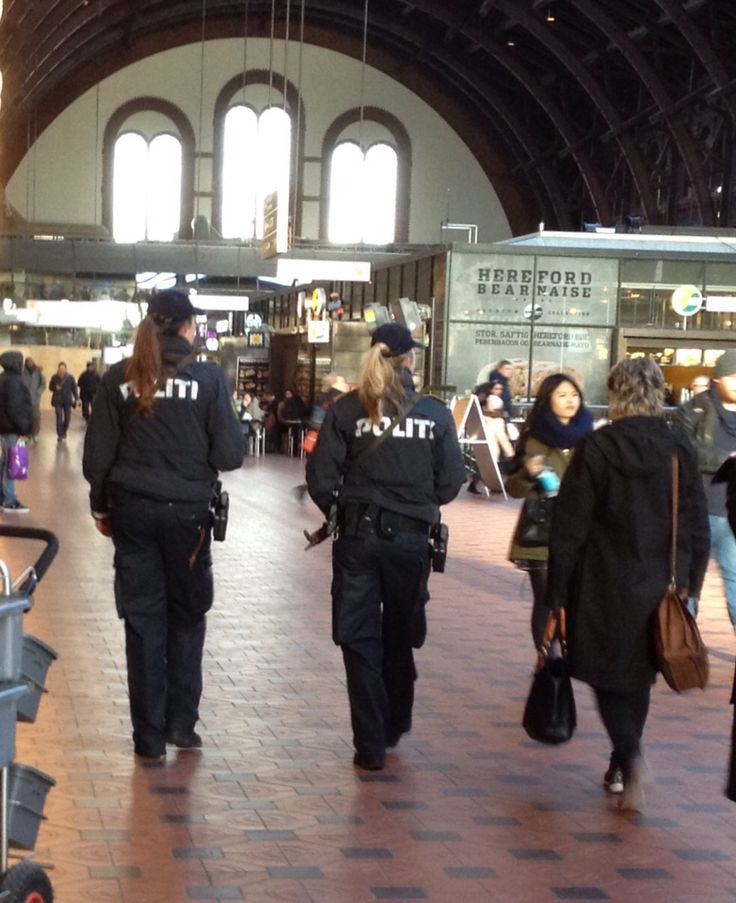 Copenhagen police caps with ponytails