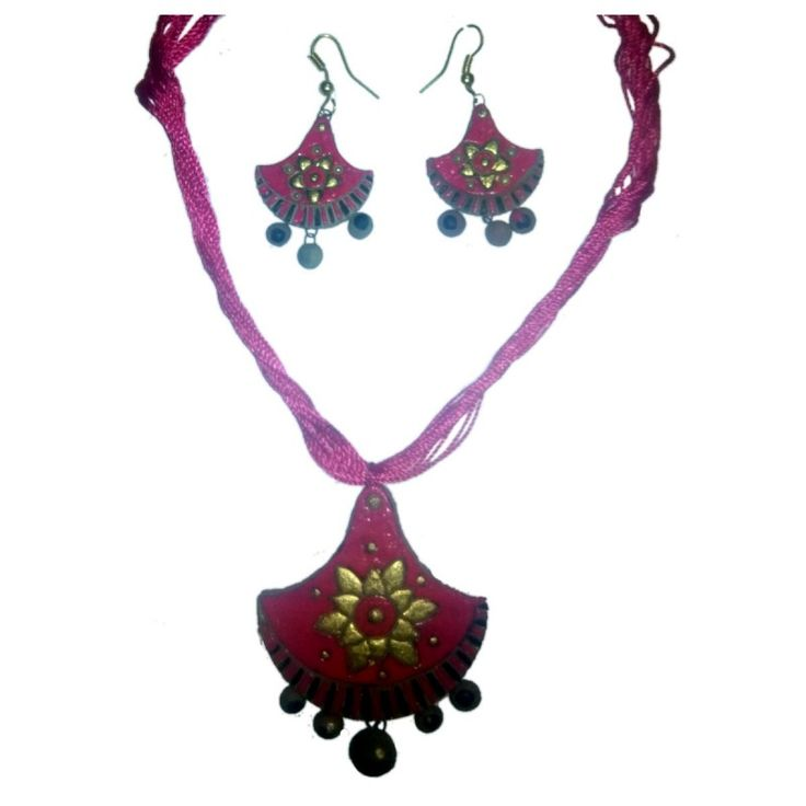 Clay Jewelry from KrishnanagarHandicraft ProductNew DesignStylish -Red - SemicircularBurnt Clay - Naturalcolour