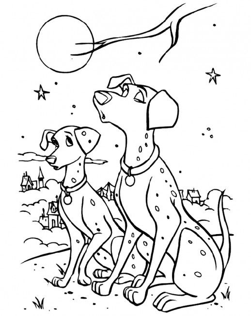perdi and pongo barking in the middle of night 101 dalmatians coloring pages