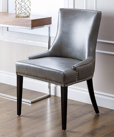 Gray Newport Leather Nailhead Trim Dining Chair Craft Room
