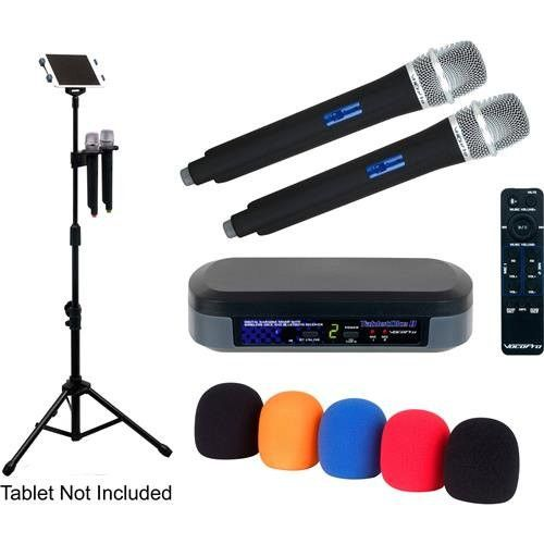 VocoPro TabletOke-2MC Digital Karaoke Mixer with 2x Wireless Microphones and Professional Tablet Stand