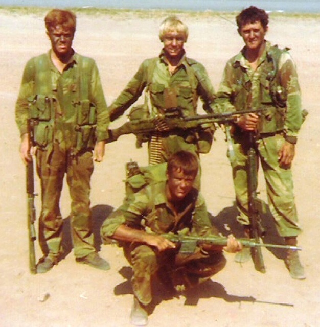 "Members of the Rhodesian African Rifles at the time of the Insurgency. Along with the Selous Scouts, the RAR formed the ""iron fist"" of the Rhodesian armed forces. Excellent bush fighters and accomplished commandos, the members of the RAR are remembered as those ""who were never defeated""."
