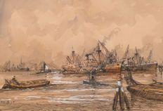 Wim Bos (1906-1974) - Vista del Puerto de Roterdám