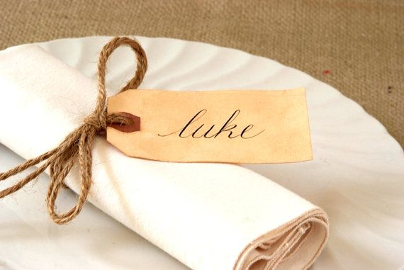 Wedding Table Setting - Rustic Name Cards / Place Cards - Hand Calligraphy - Vintage Inspired / Stained - Envelope Addressing Also Available