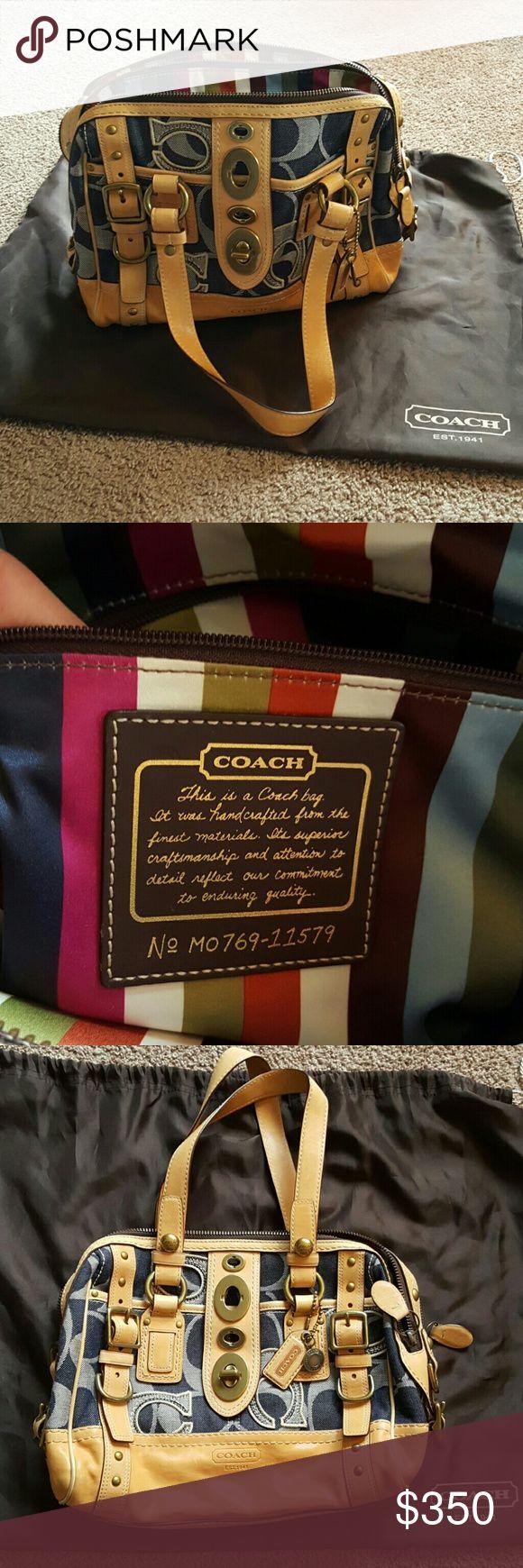 Coach legacy stripe signature denim lily satchel Authentic rare Coach vachetta legacy stripe signature denim lily satchel. In excellent condition. Coach Bags Satchels