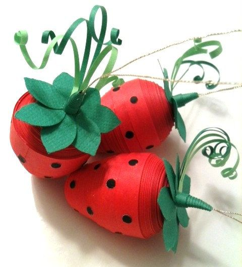Strawberry red ornament decorations paper by for Decoration quilling