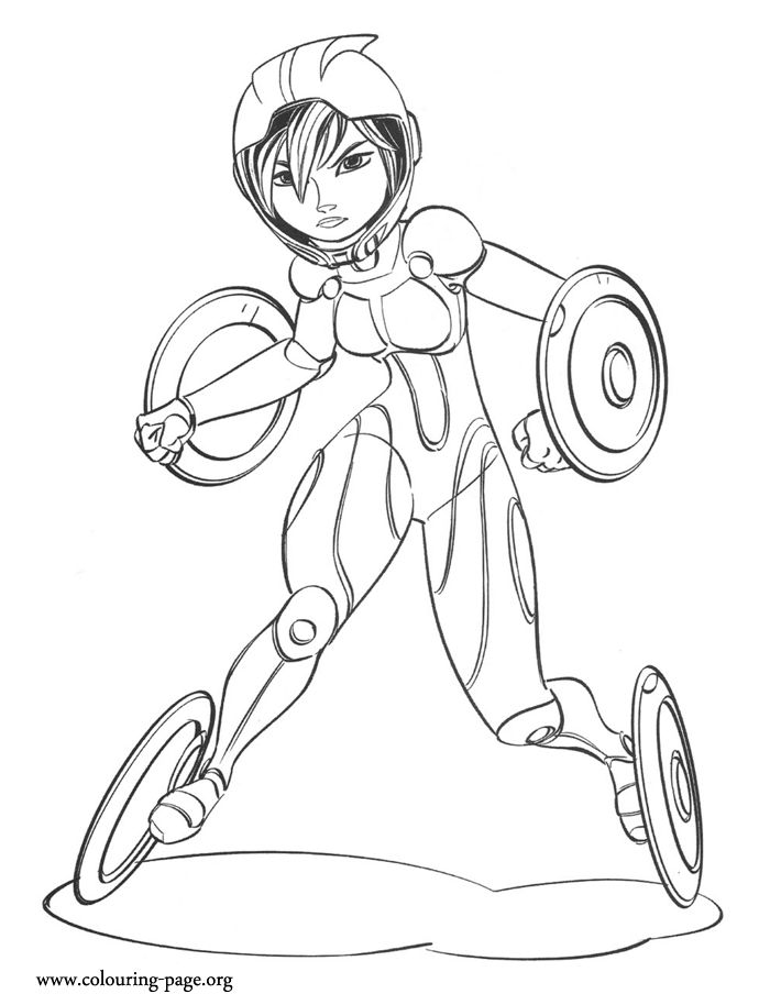 She Is Known As The Hothead And Her Super Suit Comes With Discs To Help Move Faster Enjoy This Free Disneys Big Hero 6 Coloring Sheet