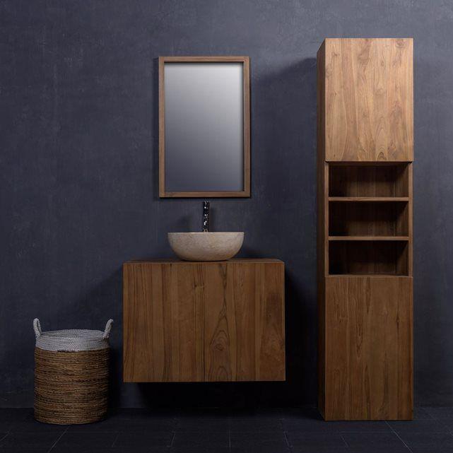 colonne teck gamme salle de bain chaleureuse vasque rendu livraison miroir - Colonne Vasque Salle De Bain