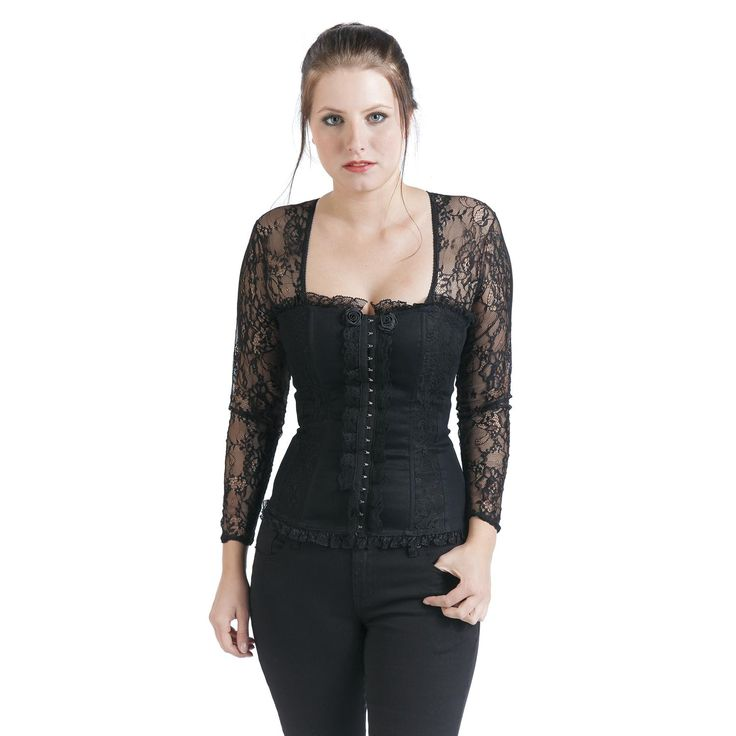 """Alcatraz Langarmshirt, Frauen """"Victoria Top"""" schwarz • EMP"""