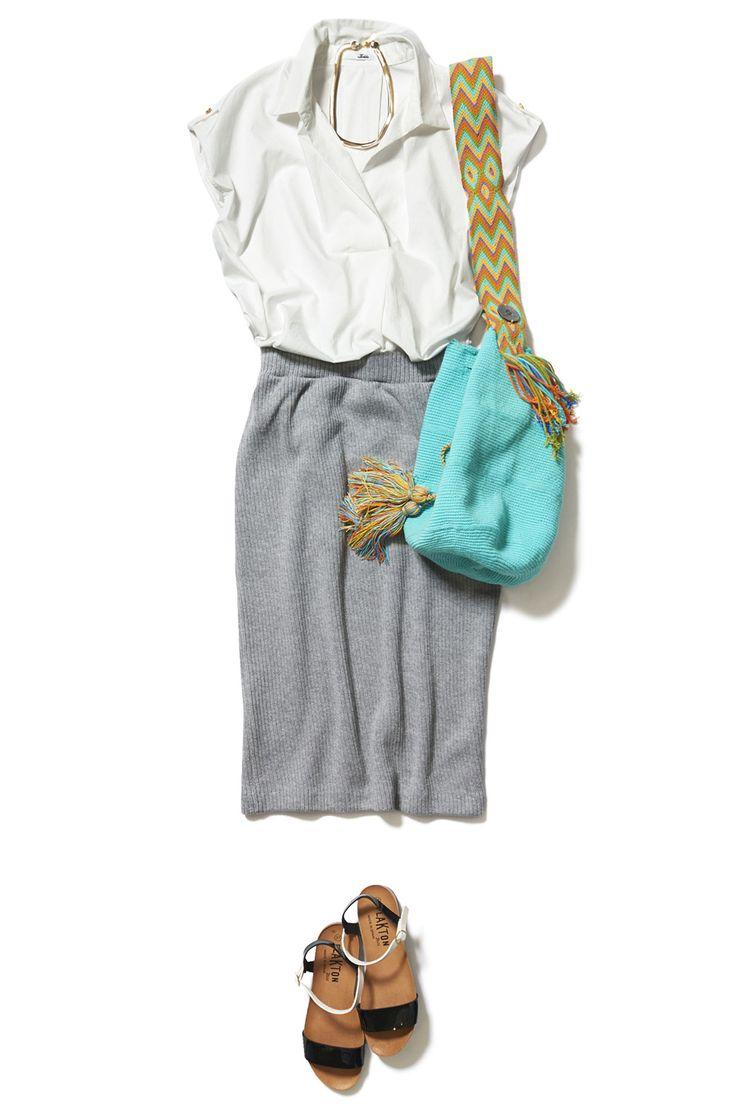 スプリングニットのタイトスカートで作る大人のON/OFF旬顔コーデ ― B