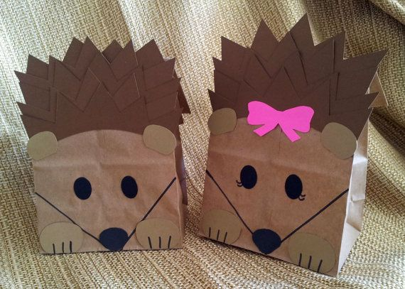 Hedgehog Treat Sacks - Woodland Forest Critter Porcupine Theme Birthday Party…