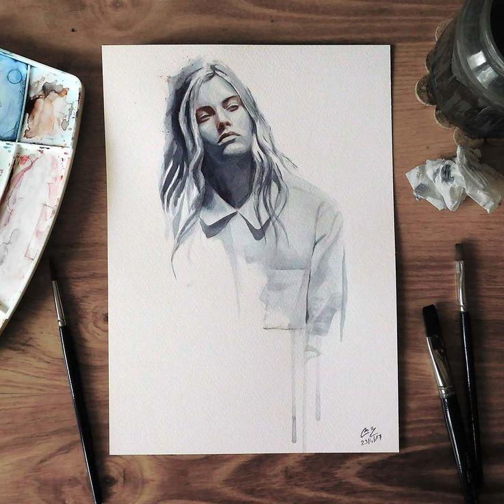 """Páči sa mi to: 2,634, komentáre: 13 – Miroslav Zgabaj (@miro_z_art) na Instagrame: """"Small watercolor painting  #face #potrait #watercolor #painting #sketch  #watercolorpainting…"""""""