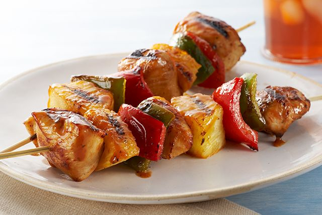 These better-for-you BBQ chicken kabobs have an island vibe going on. Think OJ, fresh pineapple and peppers. Now all you need is a drink with an umbrella.