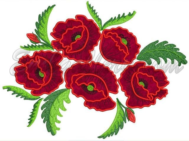 """Free Machine Embroidery Designs Patterns   Machine Embroidery Design in Applique Technique from the Set """"Poppies ..."""