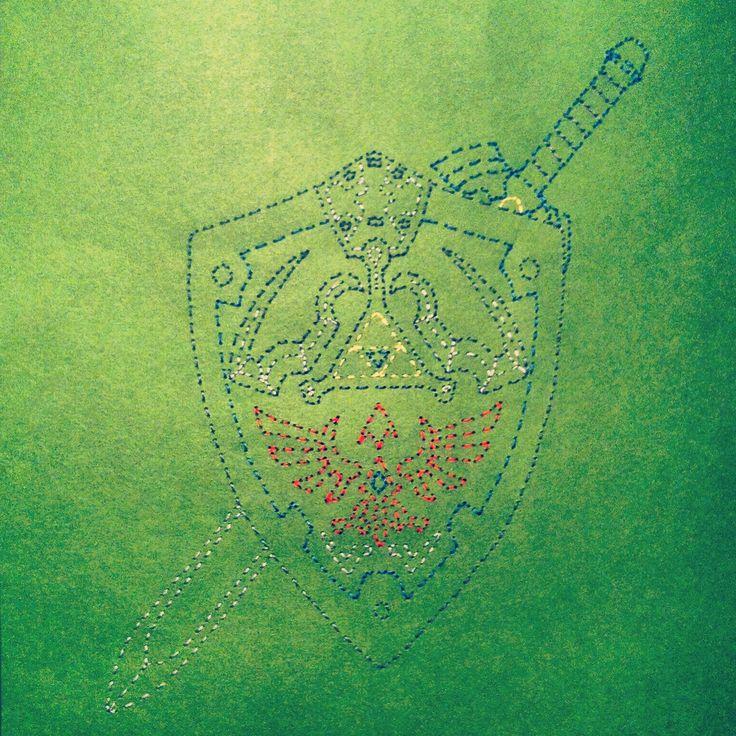 Links Hylian Shield & Master Sword Stitched Art by JSA. #JaimiesStitchedArt
