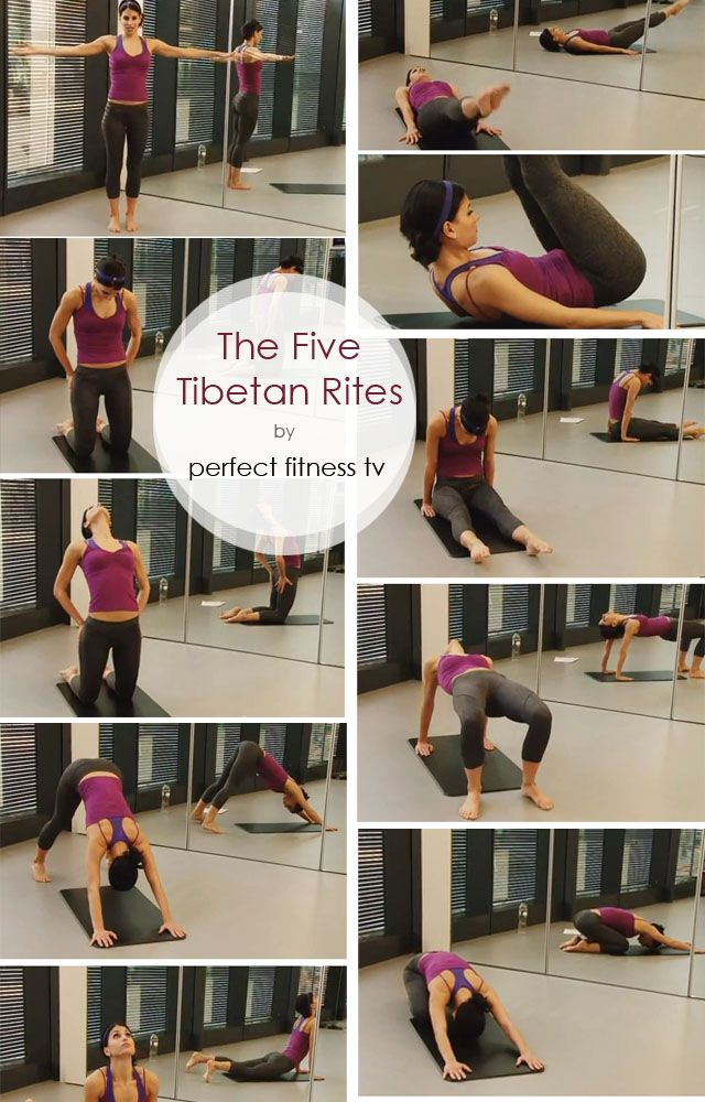 The 5 Tibetan Rites | A Quick Anti-Aging Workouts  This ancient workout is thought to help to slow down the aging process and assist well being by opening up your chakras which are the 7 energy centers of the body (Inhale to exhale).   1. 21 clockwise spins with arms extended shoulder height 2. 21 leg raises 3. 21 camel 4. 21 tabletop 5. 21 downward dog inhale to cobra exhale