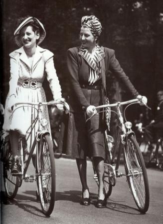 1940s women riding bikes found photo print suit dress stripe turban hat belt shoes skirt jacket
