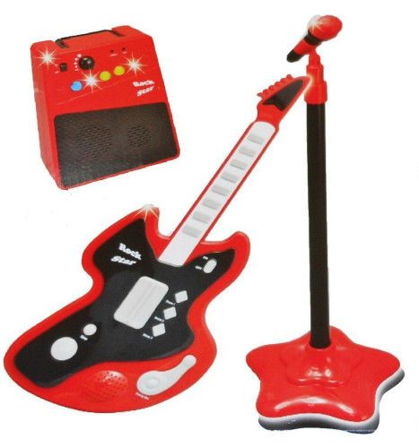 Kids Karaoke Play Set Electric Guitar Microphone Amplifier Musical Children Toy  #LeeTron