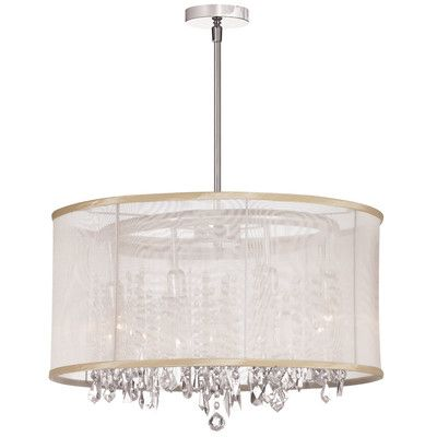 Radionic hi tech bohemian 8 light crystal chandelier with oyster organza drum shade