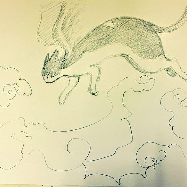 仕事合間に鉛筆動かす かぎしっぽのタマ雲の海にザブン  #イラスト #illustration #drawing #鉛筆 #ねこ #猫 #cat #かぎしっぽのタマ  #虹の橋 #向こう #もとpfukudamotoko2017/11/21 11:06:26