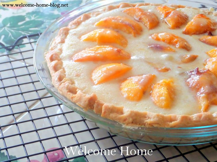 Mom's Peaches and Cream Pie. It is one of the best pies you've ever tasted with sweet peaches nestled in a creamy vanilla custard, cradled in a rich, buttery, and flaky crust.