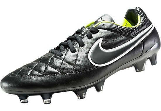 Nike Tiempo Legend V FG Soccer Cleats - Black and Volt