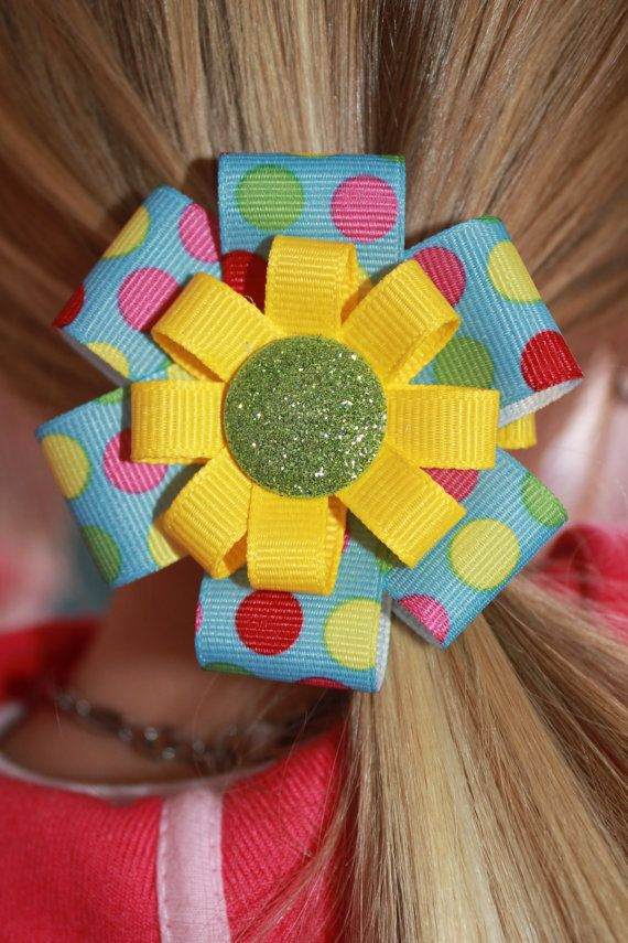 Perfect hair bow for Easter!! So bright and fun!! by marimaricollection, $5.00