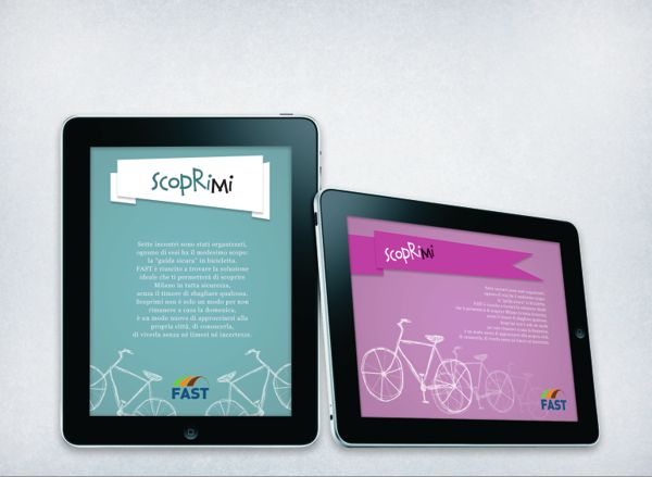 FAST is an hypothetical project I made for the city of Milan, which has as protagonist the bicycle. Here's the posters and the advertising online.  This is the landing page of the advert.