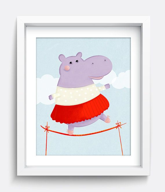 Hippo Printable Wall Art, Instant Download Printable Art, Nursery Art, Kids Wall Art, Home Decor, Wall Art, Art Prints, Illustration, Print