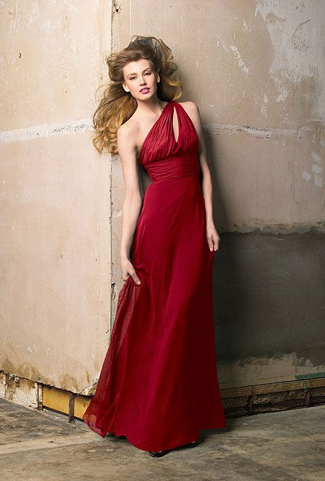 Brides: Wtoo. Red Bridesmaid Dress: Wtoo                                                                                                                                                                                                                                                                                                                                                                                                                        Full-length one-shoulder dress, style 183…