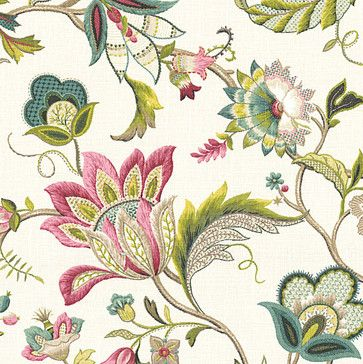Pink & Blue Jacobean Floral Linen Fabric - traditional - Upholstery Fabric - Loom Décor - Use for bench for bathroom?