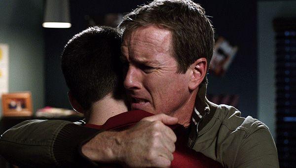A relieved Sheriff Stilinski hugs his son.   MTV Photo ...