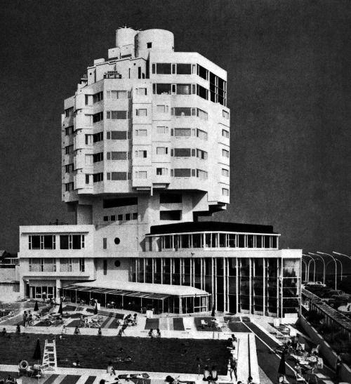 Futuristic Building, Kiyonori Kikutake (Arch.), Pacific Hotel, Chigasaki, Kanagawa Prefecture, Japan, 1966
