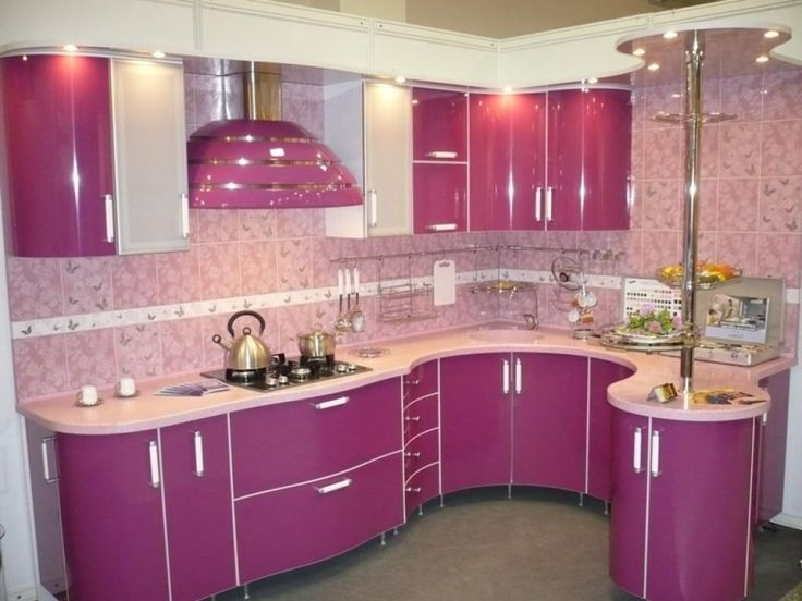 Lovely Kitchen Decoration With U Shaped Pink Kitchen Cabinetry Using  Storage Drawers Feat Shelves Idea And Cream Marble Countertop Idea And  Black Stove Near ...