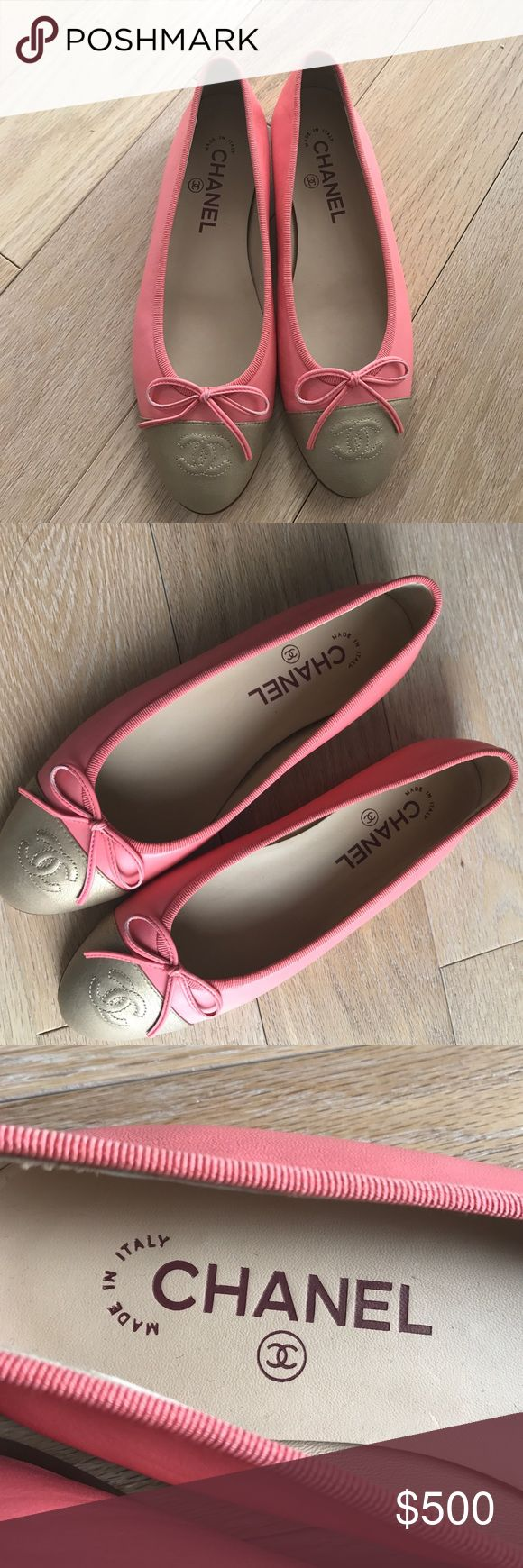 Chanel leather ballerina flats Never worn. Authentic. Rose color, matte gold tip. Purchased from Saks, comes with dustbag and box. No trades, Price firm! CHANEL Shoes Flats & Loafers